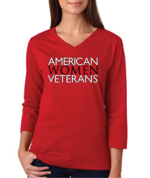 CLEARANCE: AWV Ladies' 3/4 Sleeve V-Neck (Red)