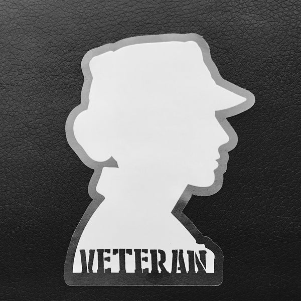 Veteran Silhouette Stickers - White