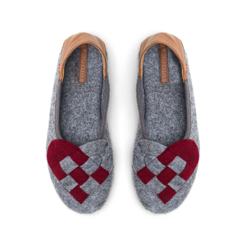 Elskling Slipper Dark Grey/Red Felt