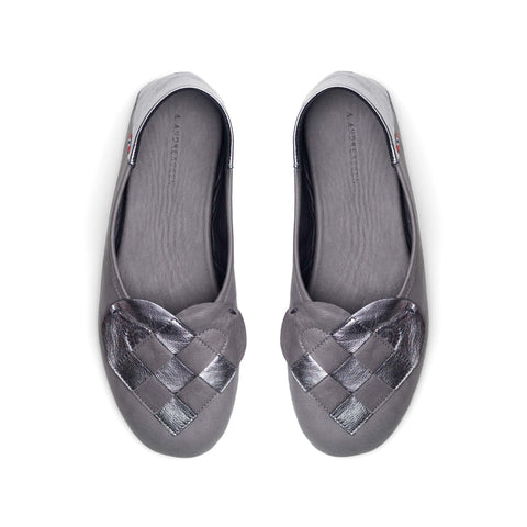 Elskling Leather Slippers Grey/Metallic Slate