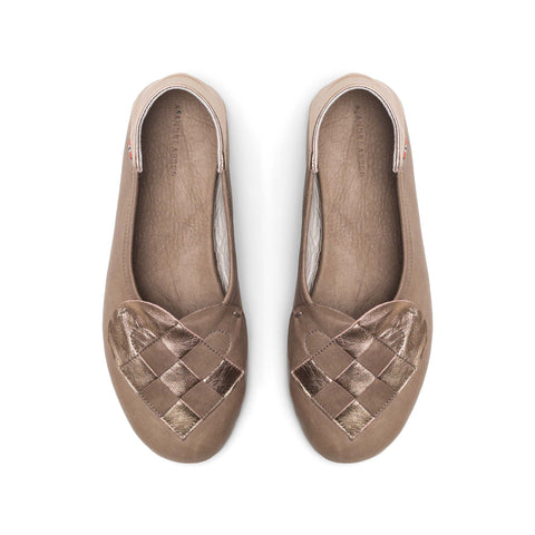 Elskling Leather Slippers | Taupe & rose gold