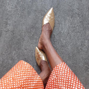 Glittertind Pointy Mule | Leather | Gold