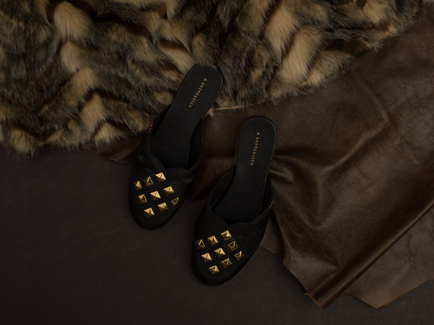 Elskling Mules | Leather | Black with Studs
