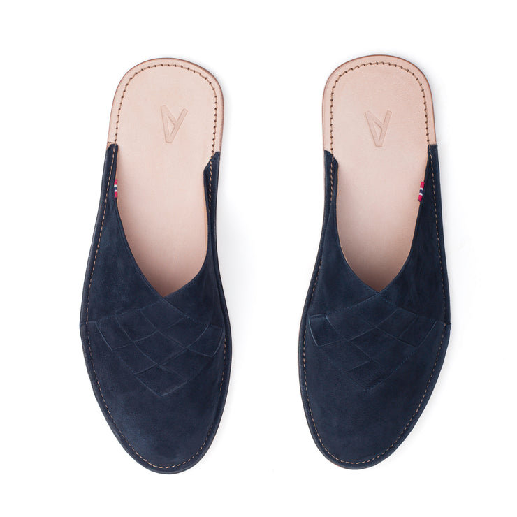Henrik | Men's Slipper | Leather | Midnight Blue