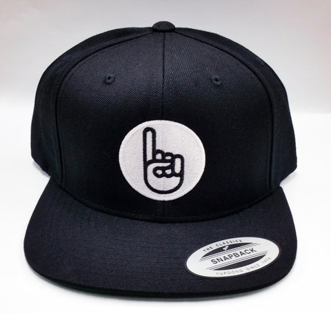 Black Classic Flat Billed Snap Back Hat