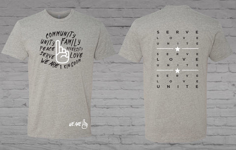 Serve/Love/Unite Tee - Dark Heather Grey