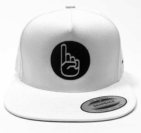 Summer White Classic Flat Billed Snap Back Hat - Finger