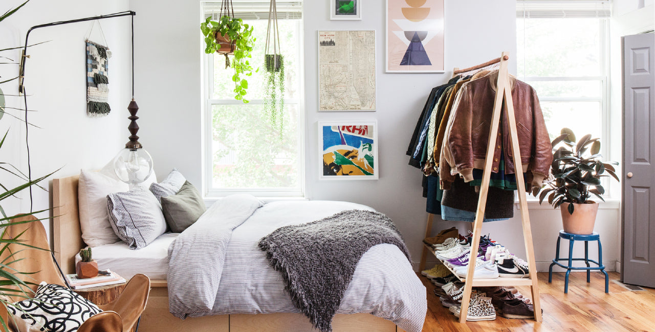 13 Storage Tricks For A Bedroom Without Closets