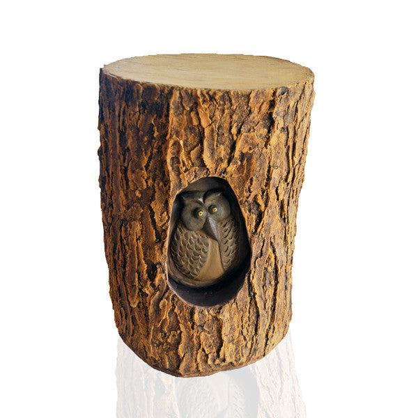 Tree Stump Decor with Owl | Greymode