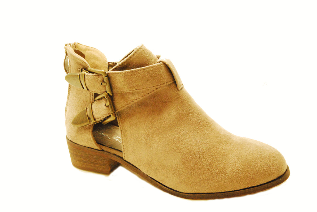 JENNIFER Suede Ankle Booties with Cut Outs and Buckles by Fashion Focus