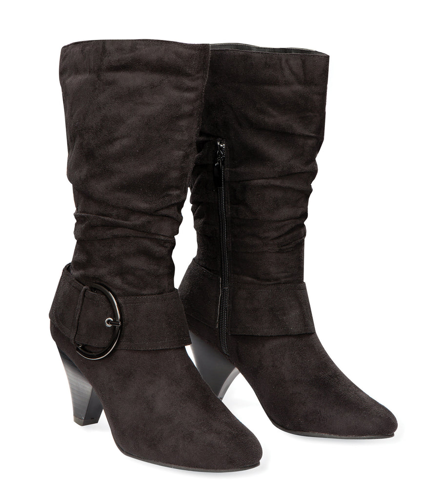 LENOX High Heel Suede Boot with Buckles by Max Collection