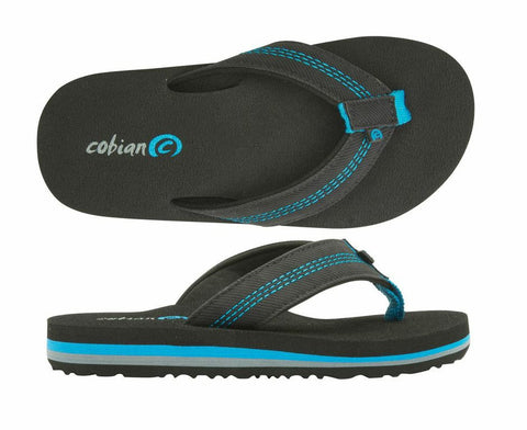 Aqua and Black Super Jump Jr Flip Flops for Boys by COBIAN