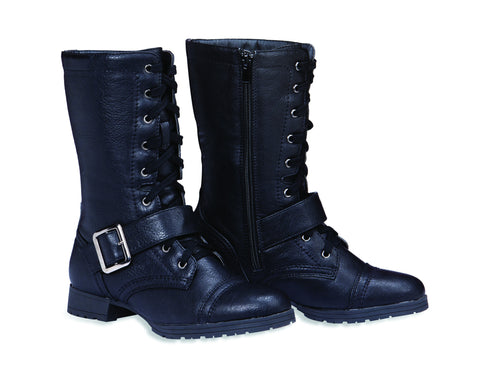 AMY Lace-Up Half Calf Boots with Buckles for Women by Max Collection