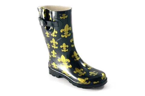 CLOUD Half Calf Black and Gold Fleur de Lis Print Rain Boots by Corkys Footwear