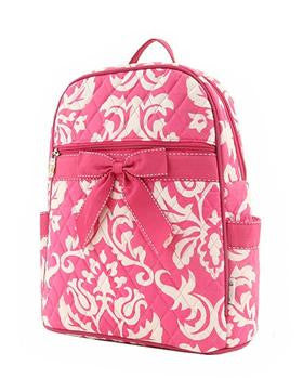 Pink Quilted Cotton Backpack