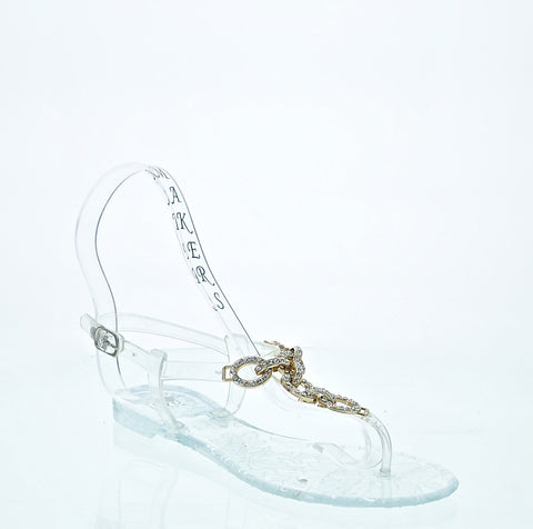 Flat Jelly Sandals with Chain Embellishment