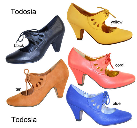 TODOSIA Lace-Up Kitten Heel Pump by Mona Mia