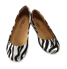 ZEBRA Suede Ballet Flats for Women by Max Collection
