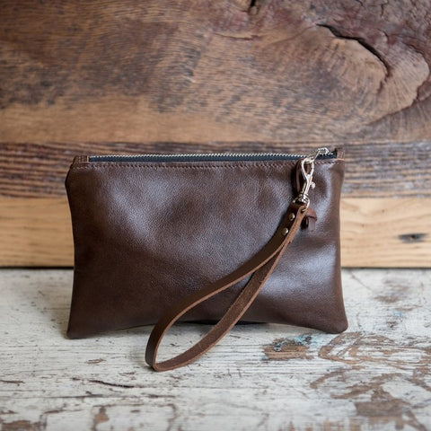 Clutch with Wrist Loop - Brown