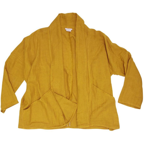 Women's Organic Cotton Gauze Kimono Jacket - Golden Mustard