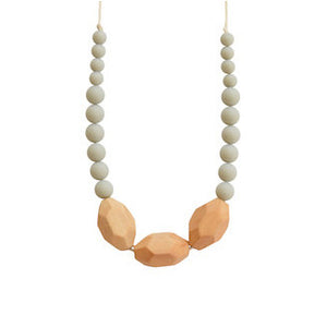 Gray Silicone + Wood Teething Necklace