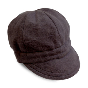 Black Flannel Newsboy Cap