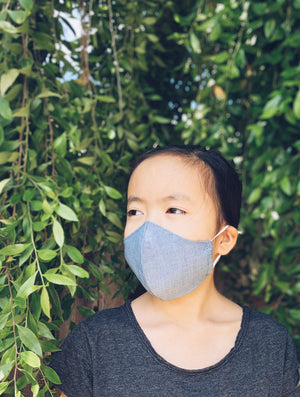 The #SpreadLove Fabric Face Mask - BIG KID Chambray