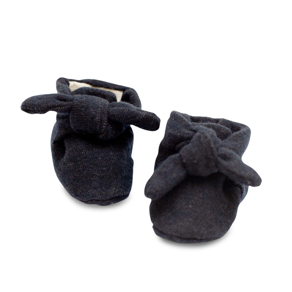 Black Flannel Knotted Bootie