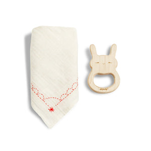 Bunny Teether & Pink Bib Gift Set