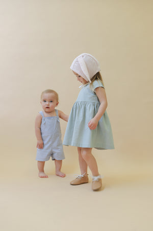 Toddler Knotted Shortalls | Blue Stripes