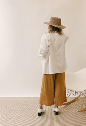 Women's Organic Cotton Canvas Kimono Jacket - Bone