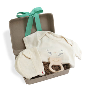 Cat Hat, Bodysuit and Teether Gift Set - Red