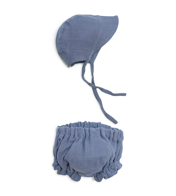 Sun Bonnet Bloomer Set - Stonewash Blue