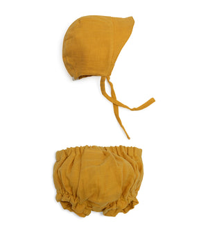 Sun Bonnet Bloomer Set - Golden Mustard