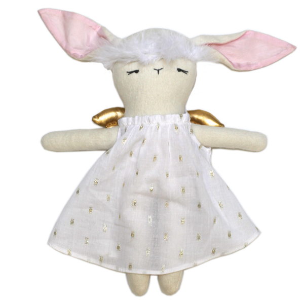 Bunny Angel Doll in Gold Dashed Dress
