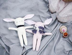 Monsieur Lapin White - Handmade Stuffed Bunny