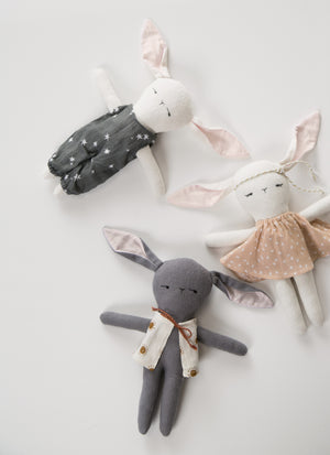 Elliefunday + Rylee & Cru - Gray Boy Bunny Doll with Vest - Sunrise