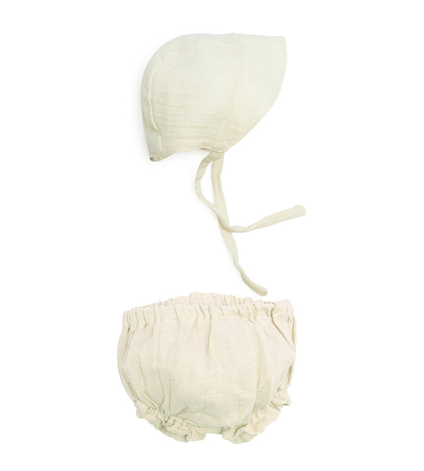 Sun Bonnet Bloomer Set - Natural