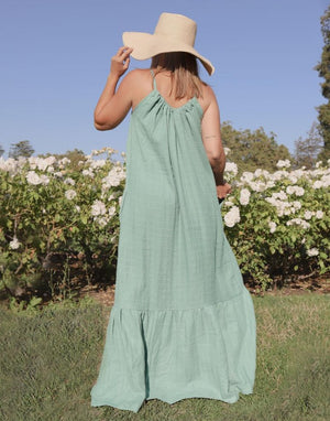 Women's Organic Cotton Maxi Sundress - Silver Sage