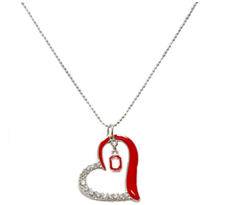 Ohio State Buckeyes Heart Necklace