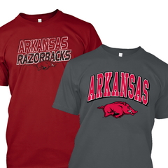 Arkansas Razorbacks T-shirt Combo - 2 Shirts - Cardinal and Charcoal