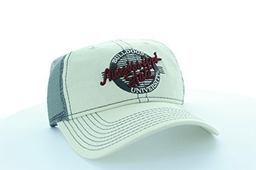 Mississippi State Bulldogs Stone/Gray Circle Hat with Mesh Trucker Style