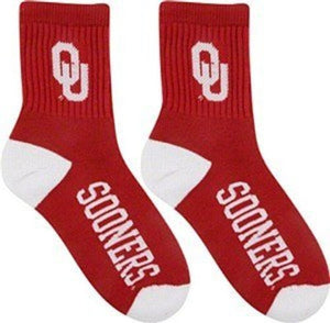 Oklahoma Sooners Men's Team Quarter Socks, Large