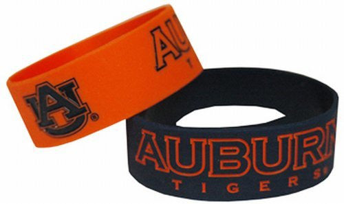 Auburn Tigers Wide Band Silicone Bracelet (Pack of 2), Team Color