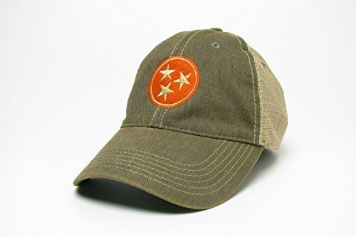 Tennessee Tri-star Trucker Style Hat/Cap - Gray