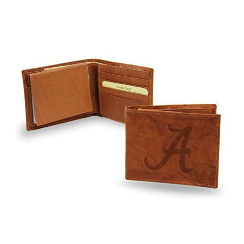 Alabama Crimson Tide Embossed Genuine Cowhide Leather Passcase
