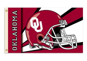 Oklahoma Sooners 3-by-5 Foot Flag with Grommets - Helmet Design