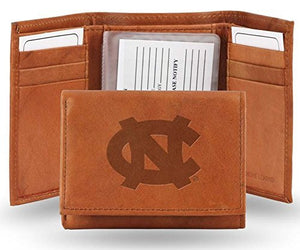 North Carolina Tar Heels Embossed Leather Trifold Wallet (Manmade Interior)