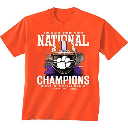Clemson Tigers 2016 National Championship T-shirt - Helmet Design - 2 Colors - Orange and Heather Gray