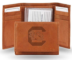 South Carolina Gamecocks Embossed Leather Trifold Wallet (Manmade Interior)